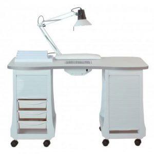 5) Стол с двумя встроенными тумбами, вытяжкой, лампой и подушкой для маникюра